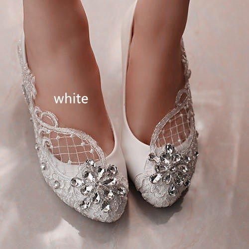 JINGXINSTORE 4 cm/1,5 Talón Encajes de Cristal Blanco Zapatos de Novia Boda Tamaño 5-12,Blanca,US 11