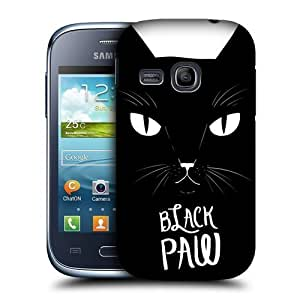 lintao diy AIYAYA Samsung Case Designs Black Paw Printed Cats Protective Snap-on Hard Back Case Cover for Samsung Galaxy Young S6310