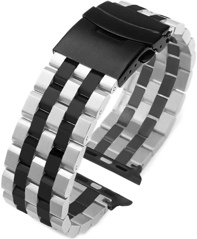 Fashion Design Two Tone Silver-Black Stainless Steel Watch Band Compatible for Apple 38mm/40mm Black Matte Metal Watch Strap Replacement Wristband for iWatch Series 6 SE 5 4 3 2 1