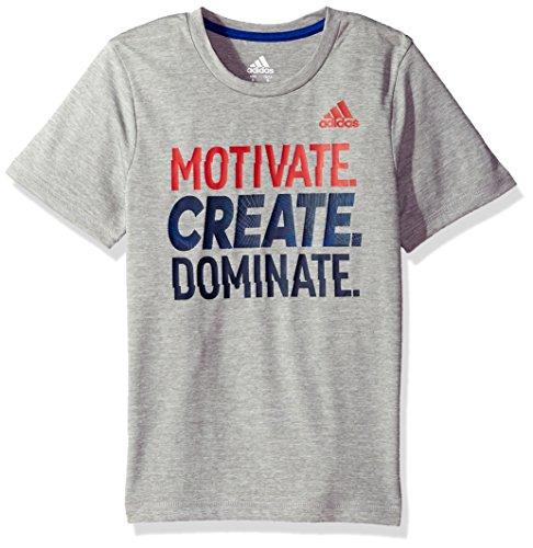 Adidas Boys Big Short Sleeve Graphic Tee Shirts, Grey Heather, Medium