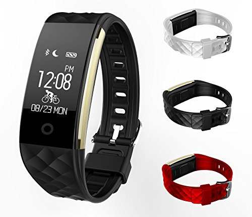 X-CHENG Fitness Tracker - IPX7 Waterproof OLED Touch Screen - And equipped with 3-color Watch Bands, free to change the color - Wireless Activity Trackers Smart Bracelet with Heart Rate Monitors.