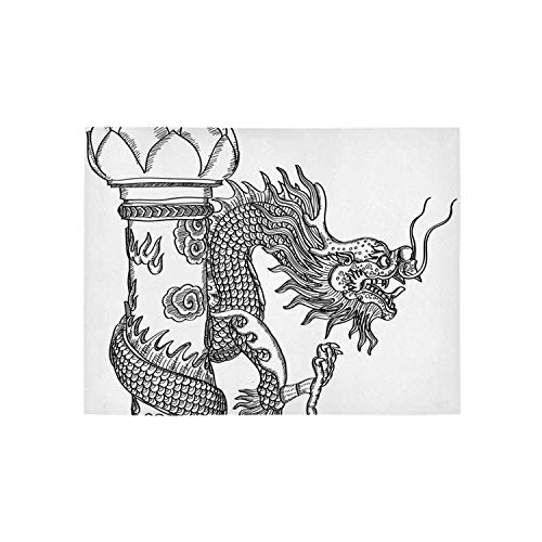 - Dragon Utility Area Rug,Chinese Style Sacred Creature Statue Sketch Medieval Monster Fantasy Tattoo Image Decorative for Home,31