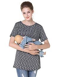 Breastfeeding Shirt Striped Patchwork Short Sleeve Maternity Breastfeeding and Nursing Tops (XL, Black Strips)