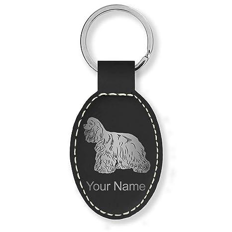 Amazon.com: Llavero ovalado de piel sintética, perro Spaniel ...