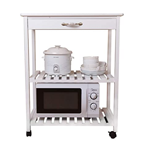 Amazon.com: Cocina madera maciza microondas horno Rack Móvil ...