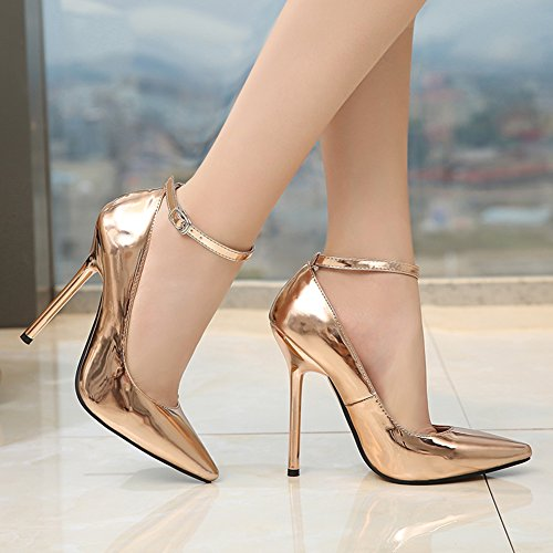 Women's Buckle Heels High Pumps JESSI Strap MAIERNISI Super Stiletto Pointed Toe golden Ankle fq1p56x