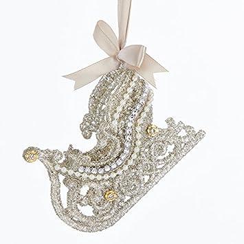 kurt adler vintage glamour platinum glass glitter sleigh ornament