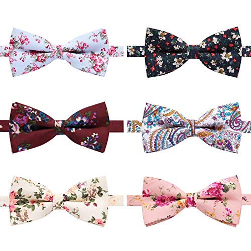 Bow Floral Tie - 6 Packs Men's Cotton Bowties Floral Printed Adjustable Pre-tied Neck Bow Tie for Men boys (A)