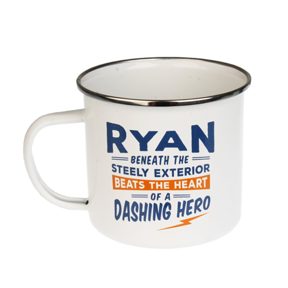 14 oz Large Camping Coffee Mug Ryan Light-weight Enamel Retro Inspired for Men Multi-Colored