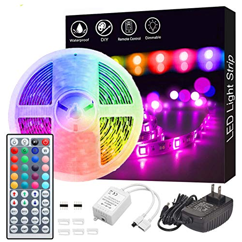 Led Strip Lights, GOADROM Waterproof 16.4ft 5m Flexible Color Changing RGB SMD 5050 150leds LED Strip Light Kit with 44…