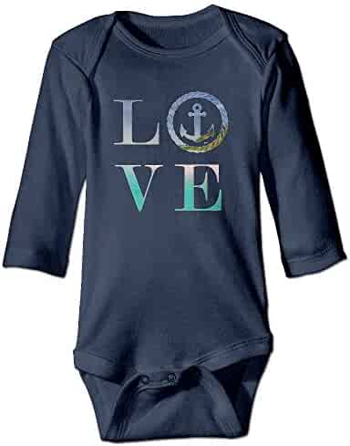 6a43c2aab TREEWw Nautical Anchor Beach Bum Love Anchor Baby Boys Girls Long Sleeve  Bodysuits Romper