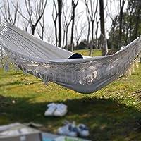 Hamacas Colgantes Exteriores 2 Personas para Jardín Hamaca de Tela de Algodón Portátil 150x320cm con Bolsa de Almacenar Estilo de Bohemio con Flecos: Amazon.es: Hogar