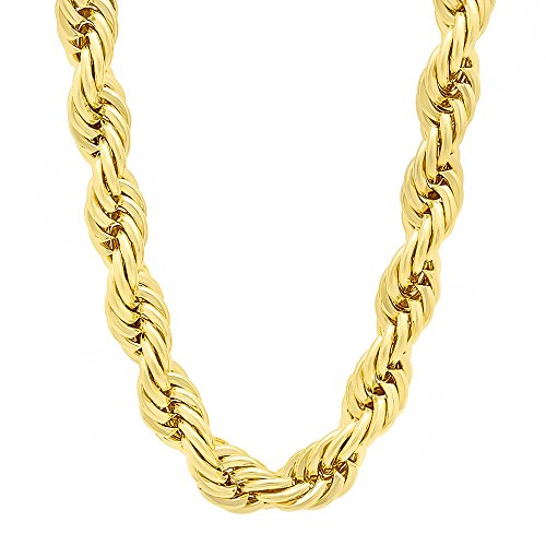 The Bling Factory Men's 8mm 14k Gold Plated Rope Chain Necklace, 30