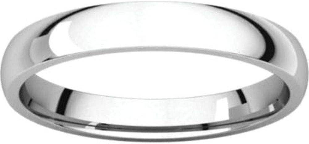 Size 13 Bonyak Jewelry 14K X1 White 3 mm Lightweight Comfort-Fit Band in 14k White Gold