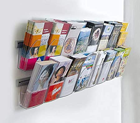 Wandklemmschiene Prospekthalter Wandmontage aus Aluminium Klemmschiene f/ür Wandmontage 50 cm lang zum Aufh/ängen von Prospekttaschen inkl. 2 Prospekttaschen DIN A4 Posterschiene