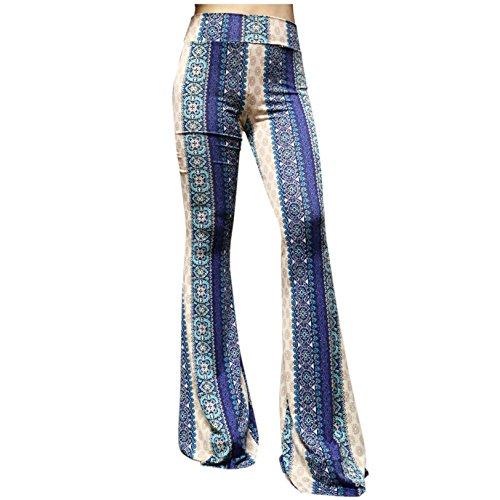 (ShopMyTrend SMT Women's High Waist Wide Leg Long Bell Bottom Yoga Pants Medium Boho Blue )
