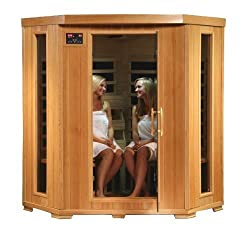 SA2420DX Tuscon Monticello 4 Person Infrared Sauna with 10 Carbon Heaters E-Z Touch Control Panel Oxygen Ionizer CHROMOTHERAPY System Recessed Interior Lighting and Built-In Sound System