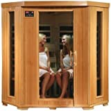 HeatWave SA2420DX Tuscon Monticello 4 Person Infrared Sauna with 10 Carbon Heaters E-Z Touch Control Panel Oxygen Ionizer CHROMOTHERAPY System Recessed Interior Lighting and Built-In Sound