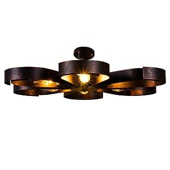 Deckenleuchte Vintage Industrie Metall Lampen Rustikal Deckenlampe Antik  für Landhaus Schlafzimmer Küchen Wohnzimmer Esstisch Decken Licht Schwarz  ...