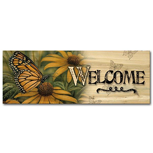 WGI-GALLERY 124 Welcome Monarch Butterfly Wooden Wall Art