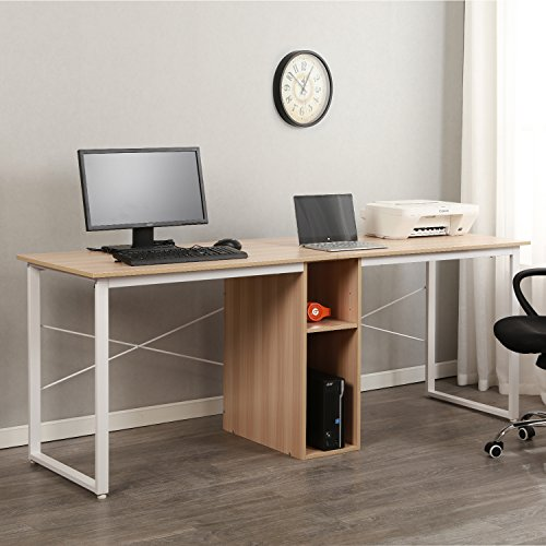 sogesfurniture Large Double Workstation Computer Desk 78inches Dual Desk Home Office Desk 2-Person Computer Desk Computer desks with Storage,White Oak BHUS-HZ011-200-MO-NEW