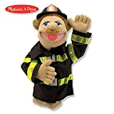 Melissa & Doug Firefighter Puppet with Detachable Wooden Rod, Puppets & Puppet Theaters, Animated Gestures, Inspires Creativity, 15