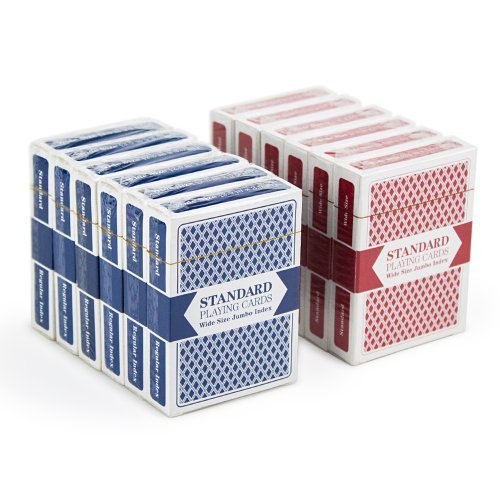 Brybelly 12 Decks (6 Red/6 Blue) Wide-Size, Jumbo Index Plastic Coated Playing Cards