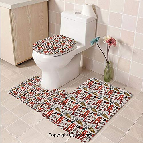 3pcs/Set London Style Soft Comfort Flannel Toilet Mat,Doodle for sale  Delivered anywhere in Canada