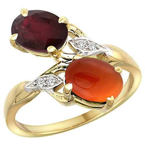 14k Yellow Gold Diamond Enhanced Genuine Ruby & Natural Brown Agate 2-stone Ring Oval 8x6mm, size 10