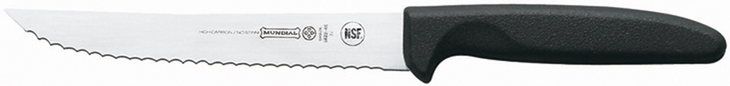 Mundial 5622-6E 6-Inch Slicing Serrated Edge Utility Knife, Black 1 Utility Knife Serrated edge bar knife Handle contains built in anti microbial protection