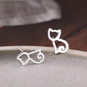 Julie's Jewelry S925 Sterling Silver Cat Earrings Hollow Out Cat Stud Earrings