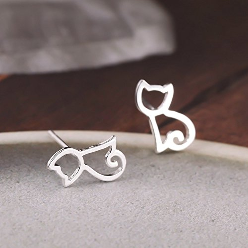 Julie S Jewelry S925 Sterling Silver Cat Earrings Hollow
