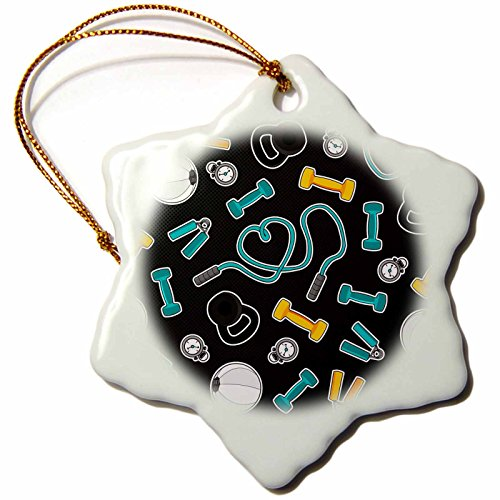3dRose Janna Salak Designs Occupational Gifts - Fitness Love Personal Trainer Pattern Grey - 3 inch Snowflake Porcelain Ornament (orn_185463_1)