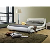 Greatime California King Size Contemporary, White Leatherette Bed with Headboard Lights