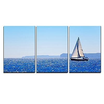 Blue Mediterranean Sailboat Sailing in Perfect Ocean at San Antonio Cape x3 Panels, Quality Creation, Pretty Expert Craftsmanship
