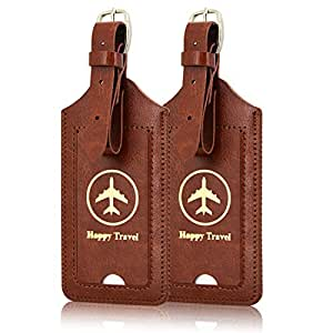 Luggage Tags, ACdream Leather Case Luggage Bag Tags Travel Tags 2 Pieces Set, Brown
