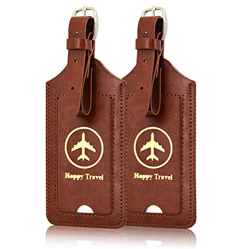 [2 Pack]Luggage Tags, ACdream Leather Case Luggage Bag Tags Travel Tags 2 Pieces Set, Brown