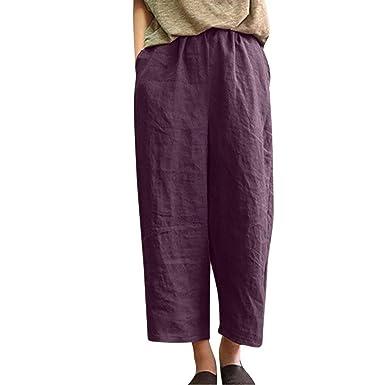c5cb57435ea Theshy Women Pants Comfy Pants Women Ladies Casual Flax Cotton and Linen  Loose Nine Point Wide Leg
