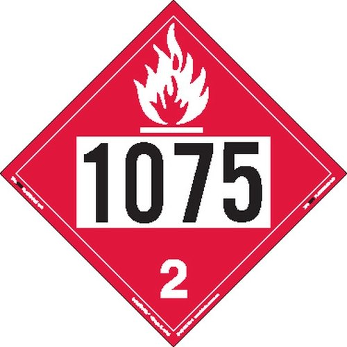 Labelmaster ZT8-1075 UN 1075 Flammable Gas Hazmat Placard, Tagboard (Pack of 25) by Labelmaster®