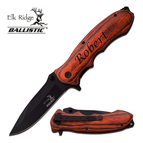 Folding Knife Pakkawood (Free Engraving - Quality Elk Ridge Pakkawood Handle Folding Knife (Black, ER-A160BW))