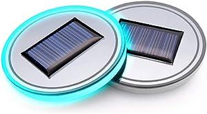 (Pack of 1) Solar Energy LED Car Cup Holder Bottom Pad Mat Interior Lights Fitment for 2019 2018 2017 2016 Hyundai Azera Genesis Coupe g80 g90 i10 i20 Grand Santa fe i40 Veracruz Veloster Accessories