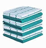 AMOUR INFINI Cotton Terry Kitchen Dish Cloths   Set of 8   12 x 12 Inches   Super Soft and Absorbent  100% Cotton Dish Rags   Perfect for Household and Commercial Uses   Teal