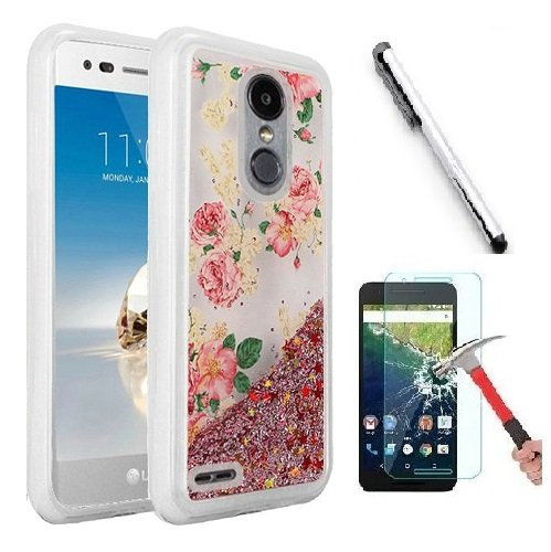 Luckiefind Compatible with Motorola Moto E5 Plus/Moto E5 Supra, Hybrid Liquid Quicksand with Glitter Fused Hybrid Hard PC TPU Cover Case (Rose Blossom)
