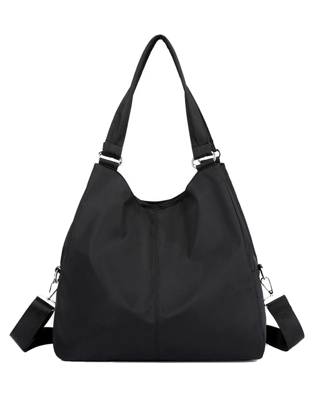 Hobo Shoulder Tote Bag, Women Waterproof Multi-function Roomy Handbag Cross-body Bag with Zipper (Black)
