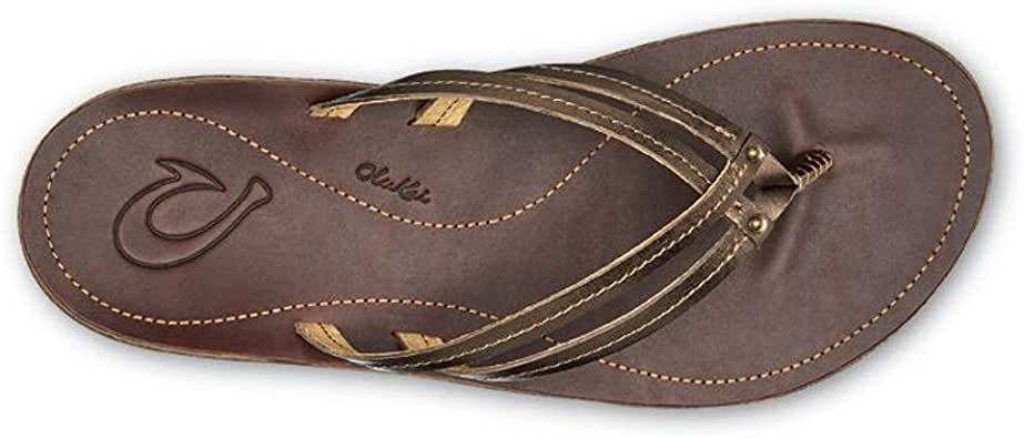OLUKAI Women's U'I Sandal, Bronze/Dark Java, 5 M US