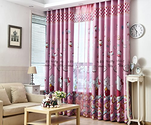 Hello Kitty Sheer (Warm Embrace Room Darkening HELLO KITTY Curtains Window 4-Piece Panel Drapes,2 Blackout panels and 2 Sheer panels,56