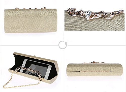 Shoulder Women's Purse Bag HeySun Cocktail Bags Evening Rhinestone Oblong Clutch Elegant Party Gold Rdw0dCq