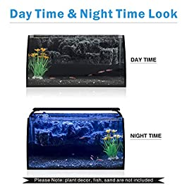 Hygger Horizon 8 Gallon LED Glass Aquarium Kit for Starters with 7W Power Filter Pump, 18W Colored led Light, Wide View Curved Shape Fish Tank with Undetachable 3D Rockery Background Decor