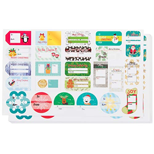 Gift Label Stickers - 400-Count Christmas Gift Tag Stickers - to and from, Peel and Stick Self Adhesive Present Labels for Holiday Gift Box, Wrapping Paper, Gift Bag, 25 Assorted Design
