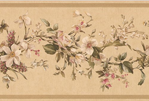 Flowers on Vine Floral Wallpaper Border for Kitchen Bathroom Living Room, Roll 15' x 7''